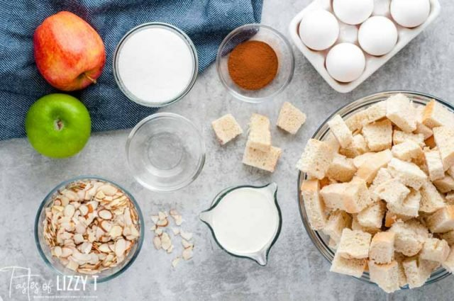 ingredients for almond apple bread pudding