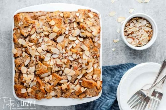 almond apple bread pudding in a 9x9 pan