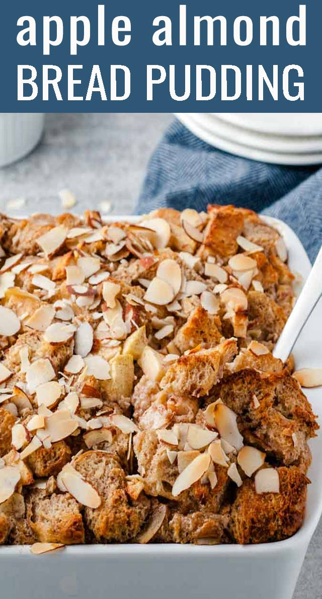 Apple bread pudding topped with thin sliced almonds is the perfect weekend brunch recipe if you're craving something sweet and filling. via @tastesoflizzyt