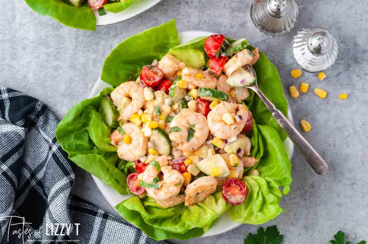 overhead shot of cajun shrimp salad