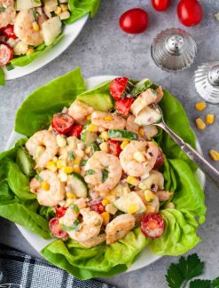 overhead shot of cajun shrimp salad