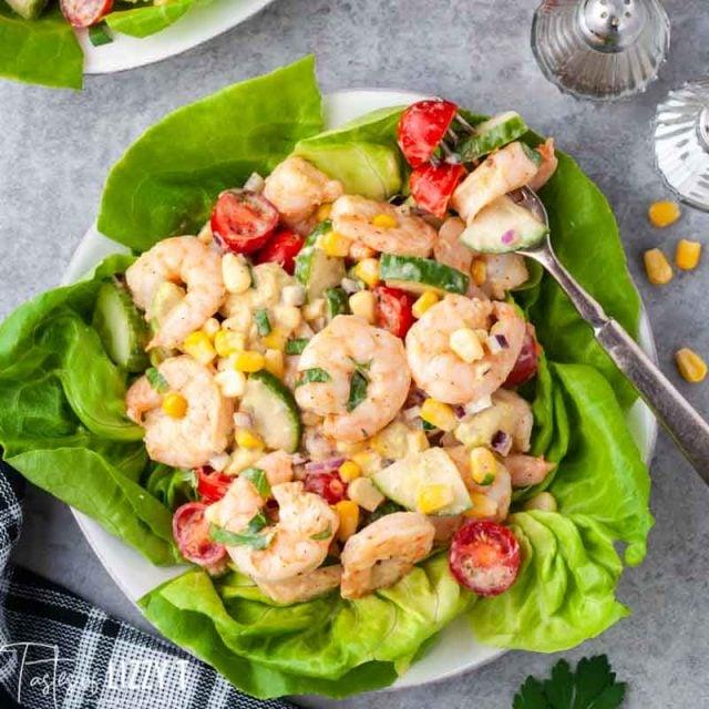 plate of cajun shrimp salad