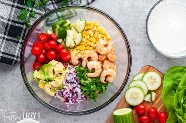 bowl of fresh vegetables for cajun salad