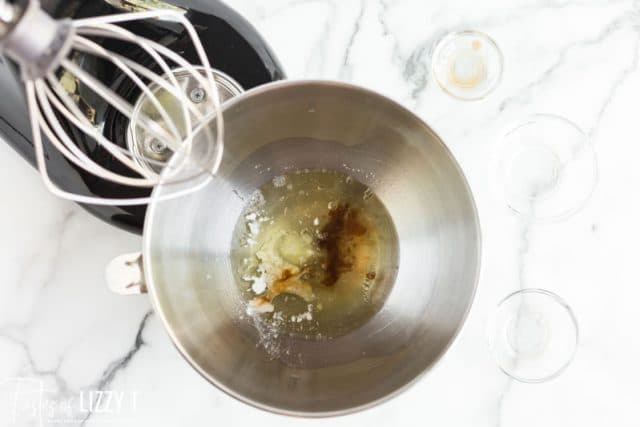 egg whites and vanilla in a stand mixer