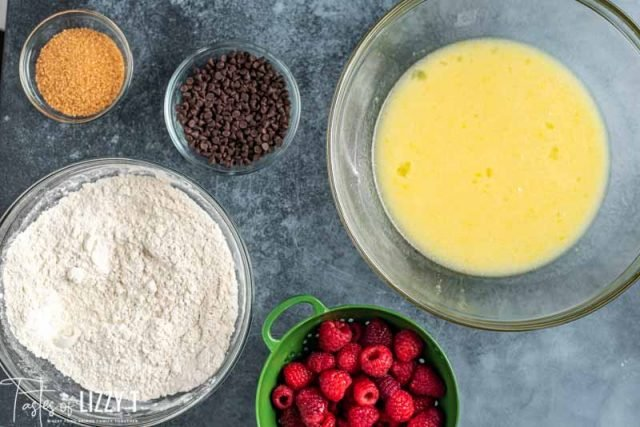 ingredients for chocolate chip raspberry bread