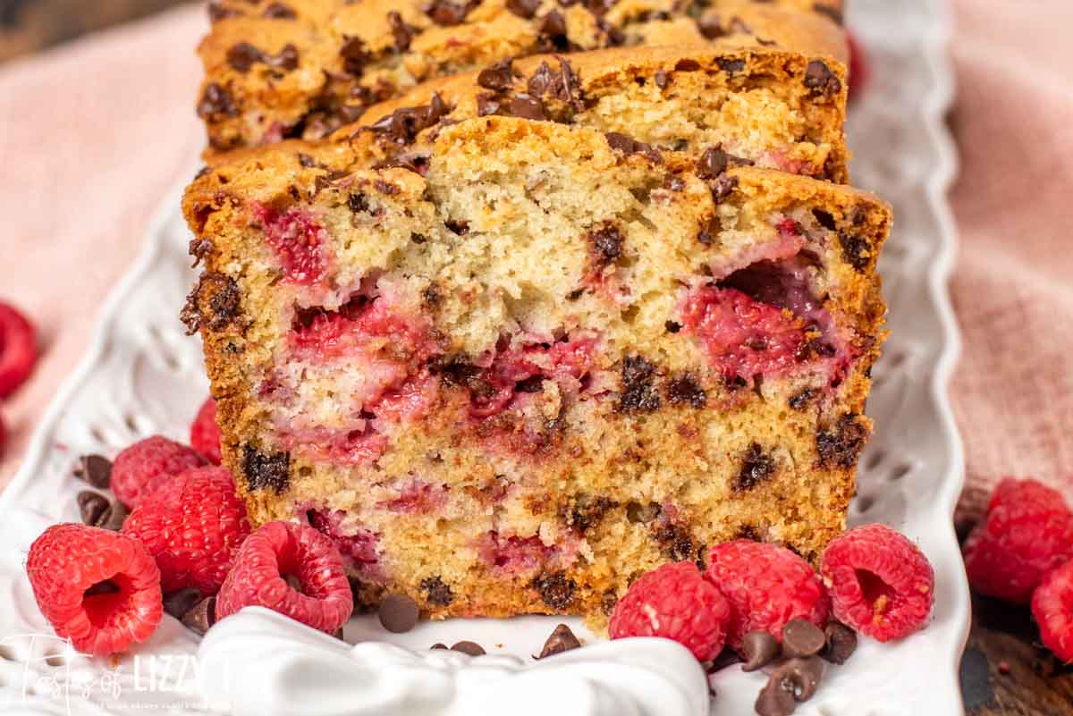 slice of chocolate chip raspberry bread