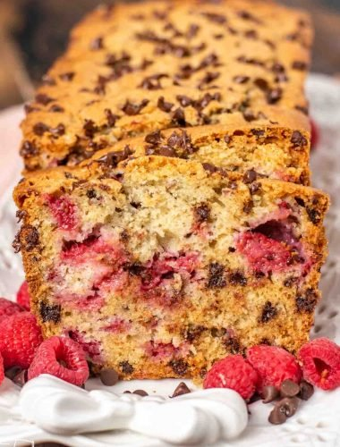loaf of chocolate chip raspberry bread
