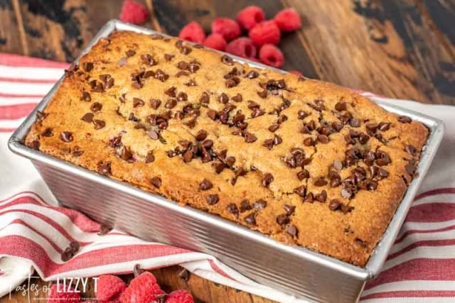 chocolate chip raspberry bread in a loaf pan