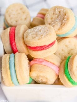 pile of cream wafer sandwich cookies in a bowl