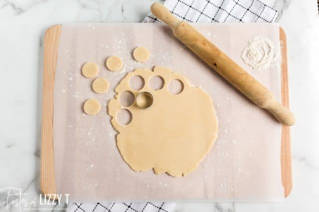 rolled cookie dough with circle cutter