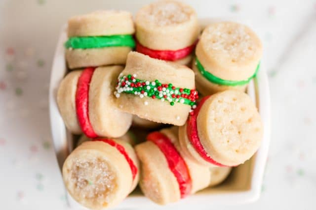 christmas cream wafer sandwich cookies in a bowl