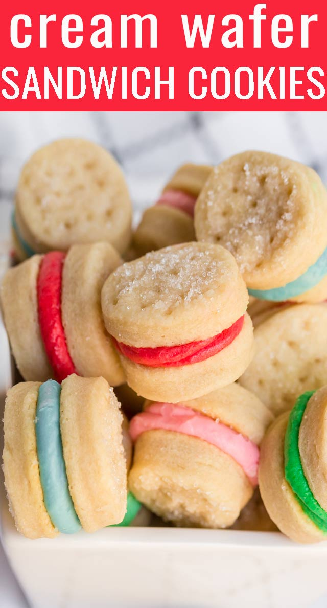 Cream Wafer Sandwich Cookies are made with only 4 ingredients: butter, cream, flour and sugar. Decorate them in any shape or color for holidays. They melt in your mouth. via @tastesoflizzyt