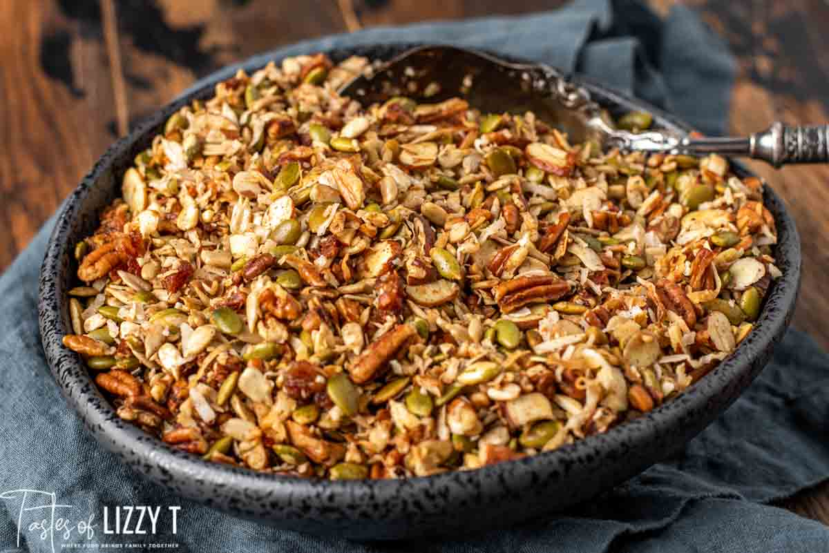 granola in a black serving bowl