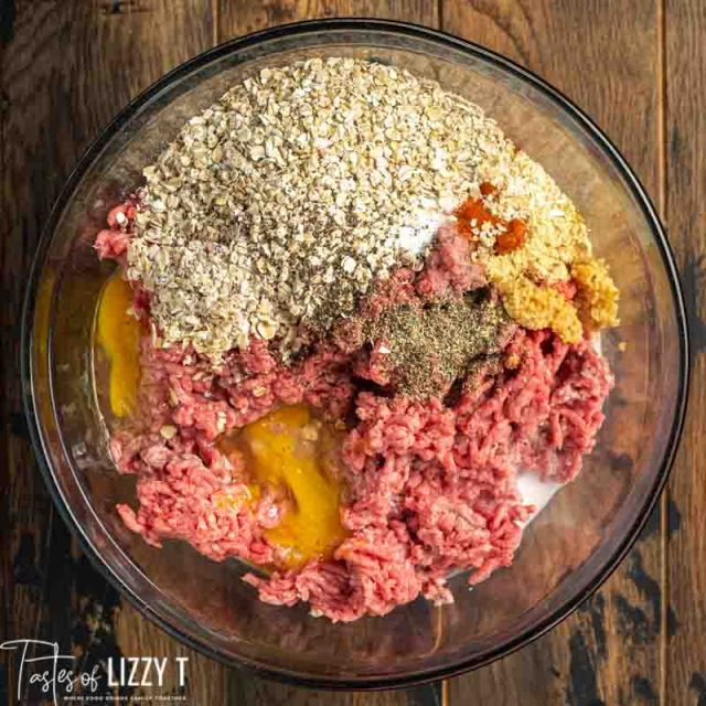 unmixed meatloaf ingredients in bowl