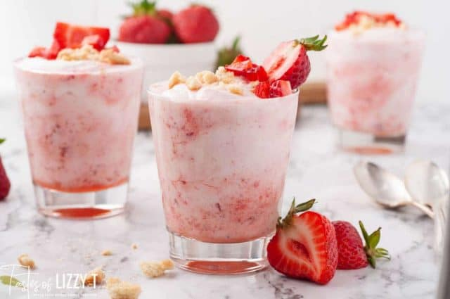 3 glass cups of strawberry fool