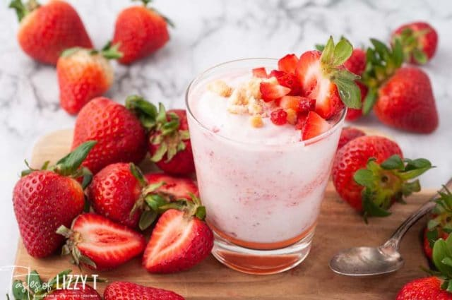 cup of strawberry fool with strawberries