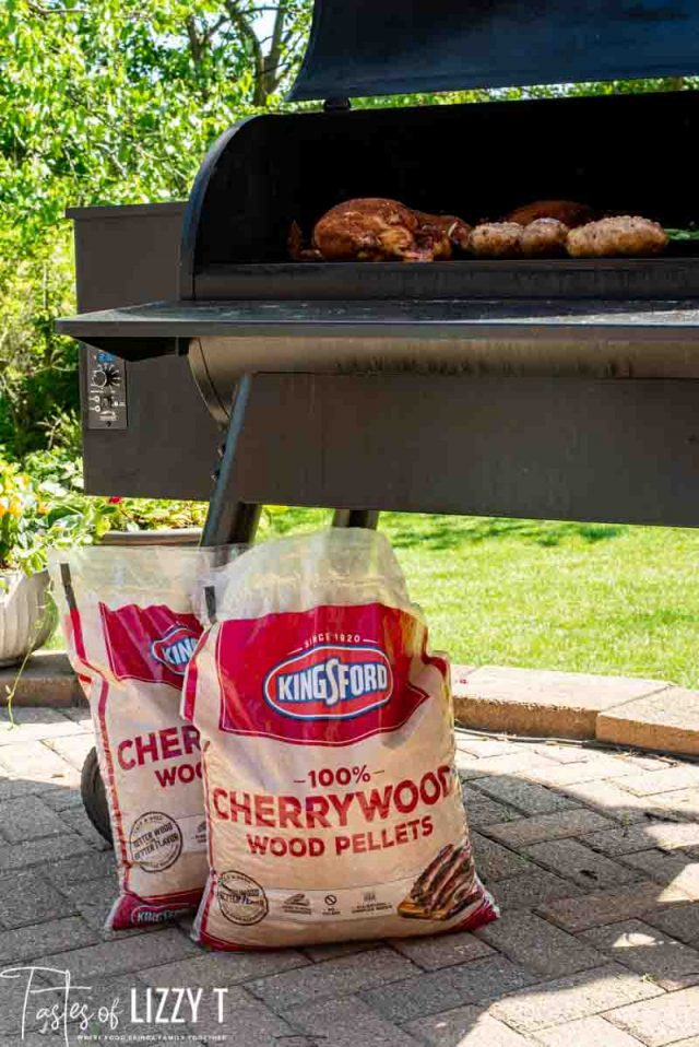 cherrywood wood pellets by grill