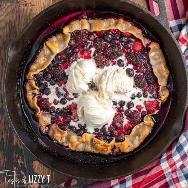 triple berry galette in a skillet