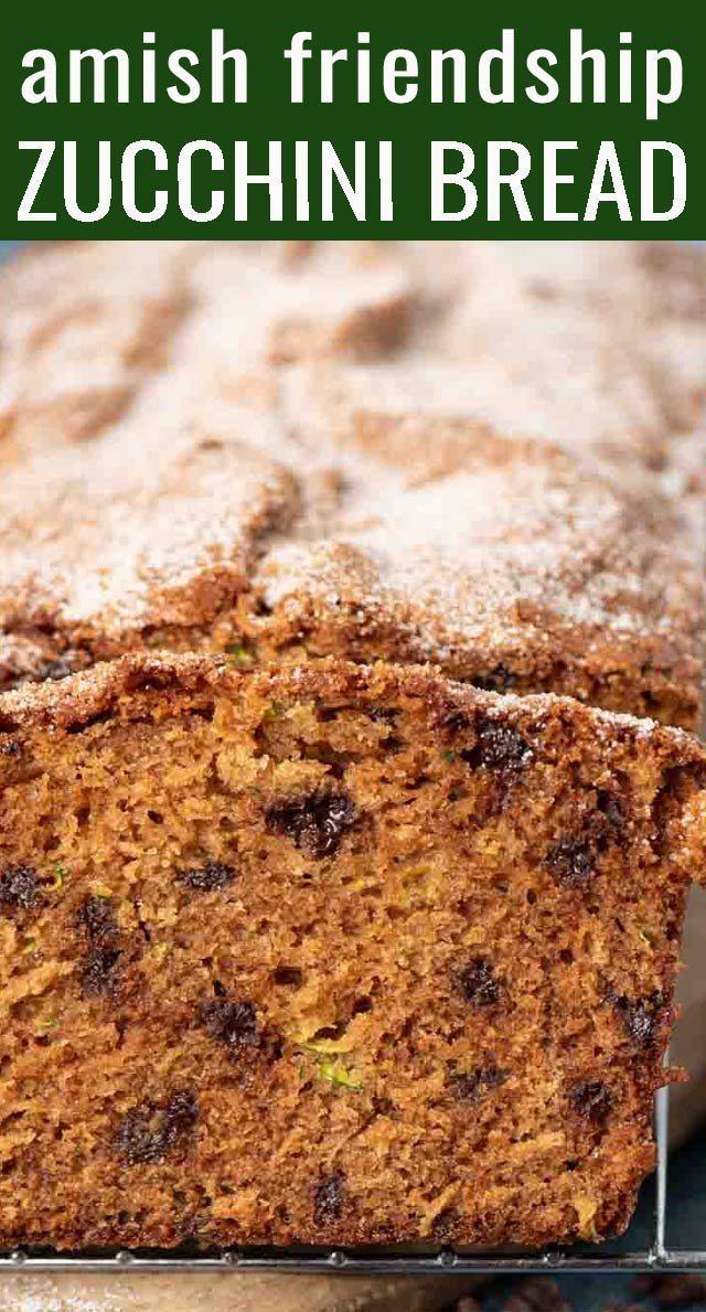 Use your sweet sourdough starter in this easy quick bread! Amish Friendship Zucchini Bread loaded with chocolate chips and topped with cinnamon sugar. Makes two loaves. via @tastesoflizzyt