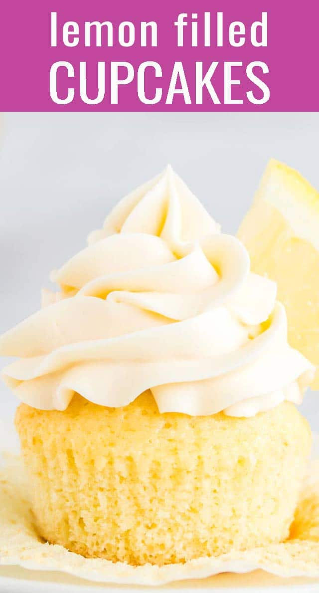 These light and fluffy fresh lemon cupcakes are filled with bright, tart lemon curd and topped with a rich, creamy vanilla frosting. via @tastesoflizzyt