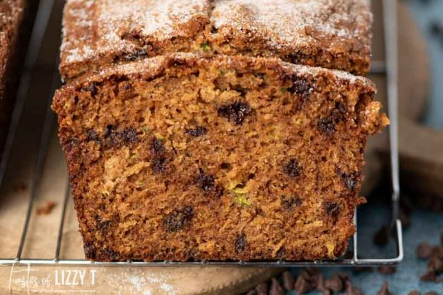 slice of amish friendship zucchini bread on a wire rack