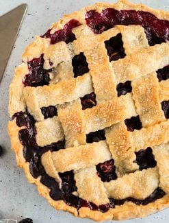 overhead view of Blueberry Blackberry Pie