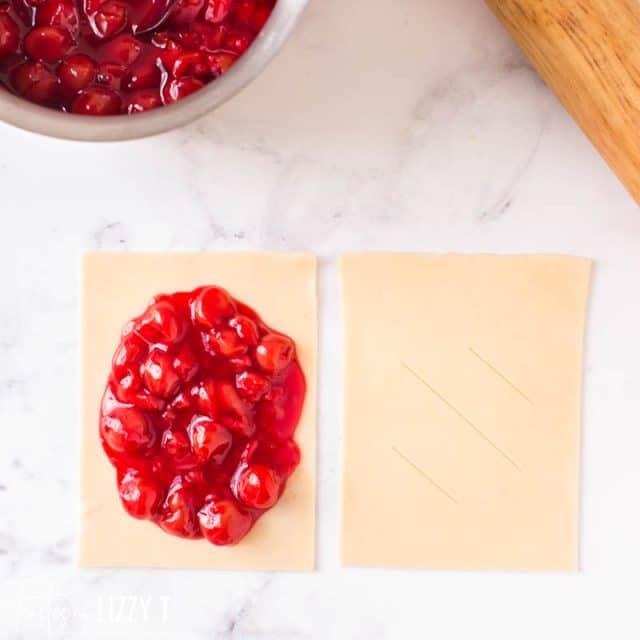 making a cherry hand pie
