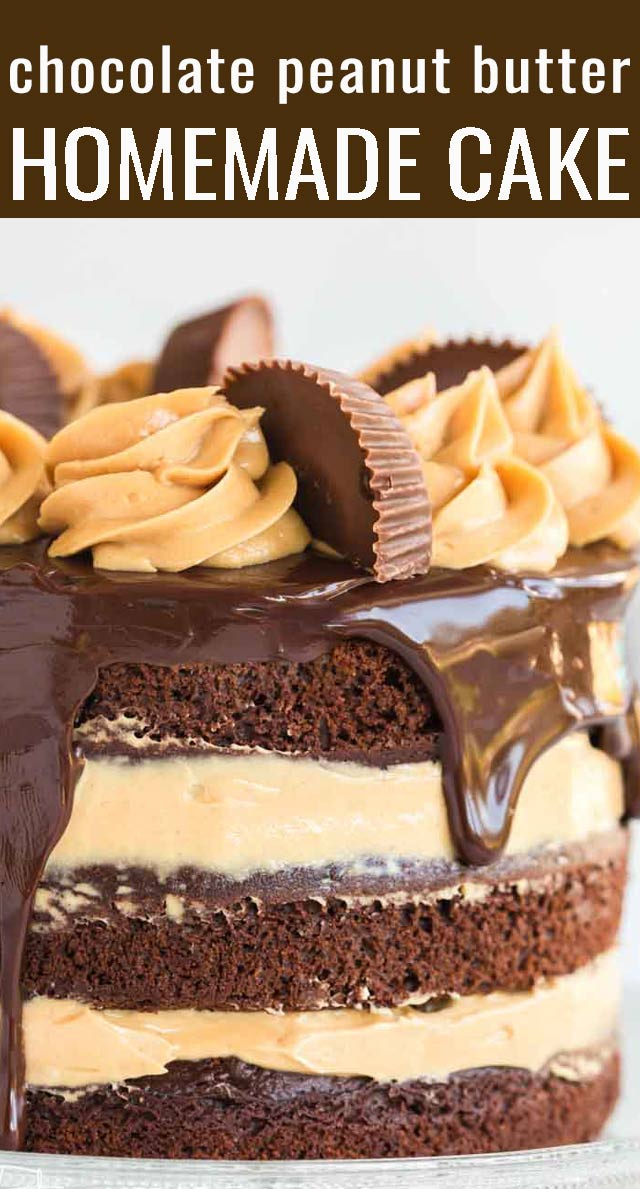 This moist, deep, rich chocolate peanut butter cup cake is filled with a creamy, light peanut butter frosting and chopped peanut butter cups, and it's topped with a luxurious chocolate ganache. via @tastesoflizzyt