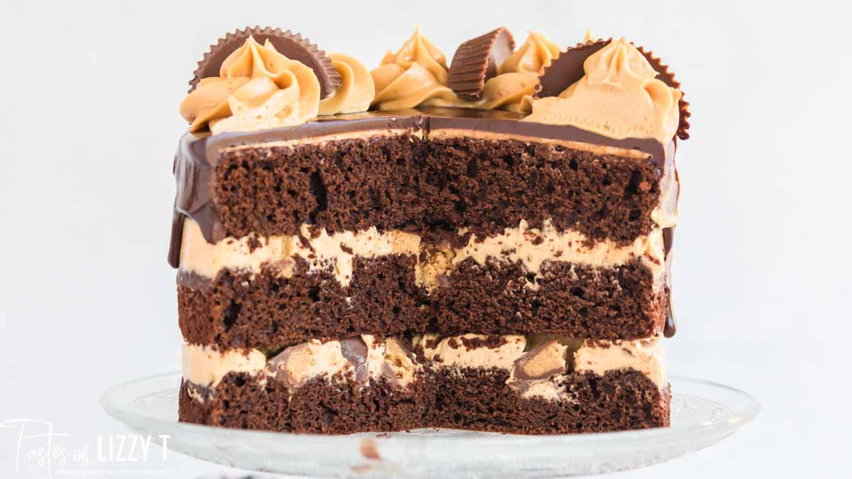 three layer chocolate cake with peanut butter