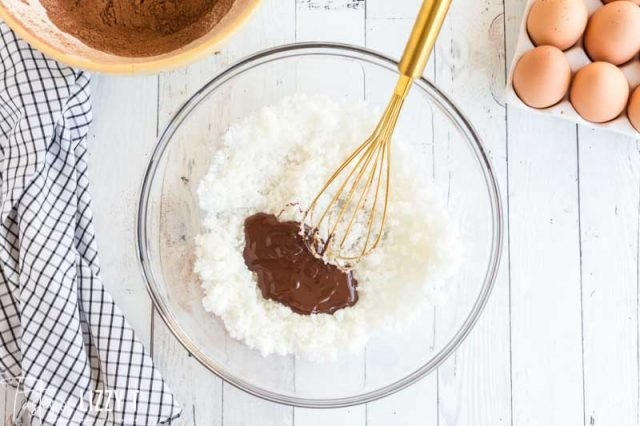 mixed chocolate into sugar for cake