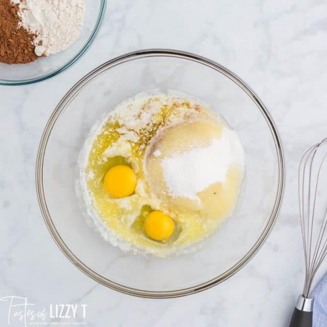 butter, eggs and sugar in a bowl
