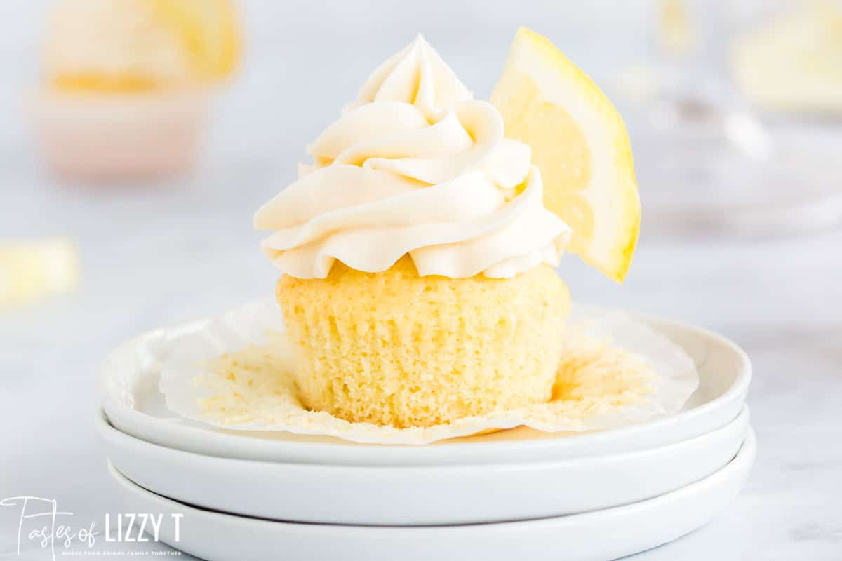 homemade lemon cupcake on a plate