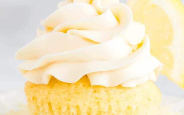 unwrapped homemade lemon cupcake