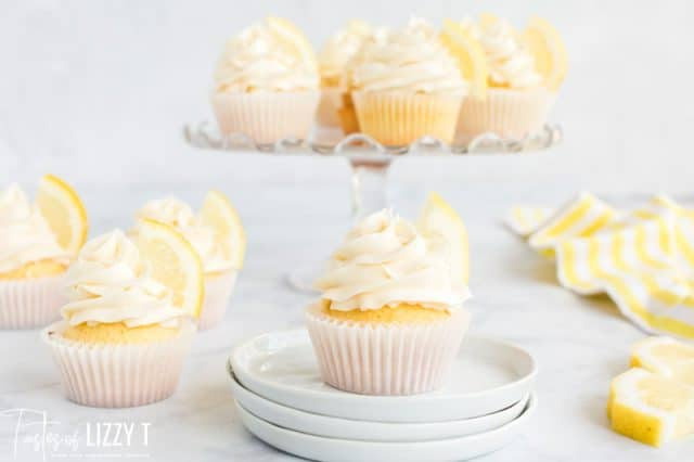 display of fresh lemon cupcakes