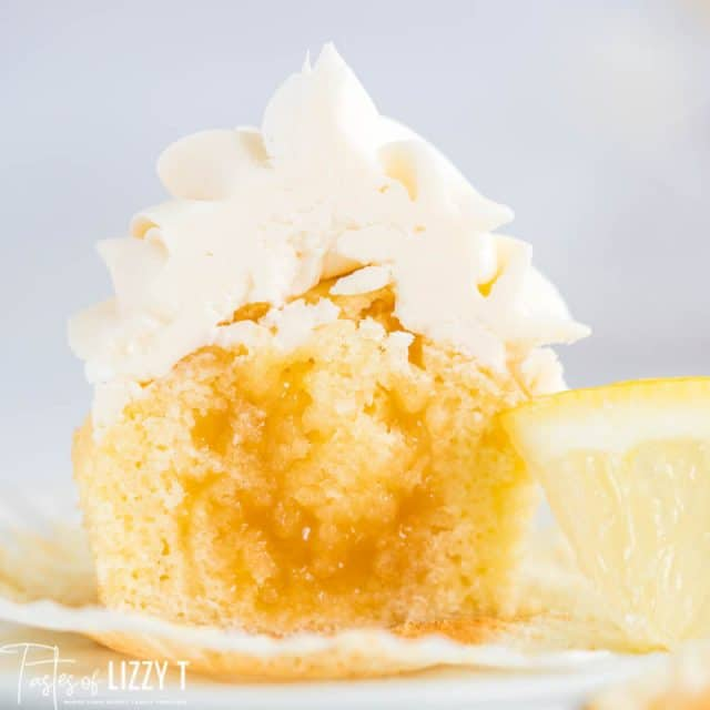 half of a lemon curd cupcake