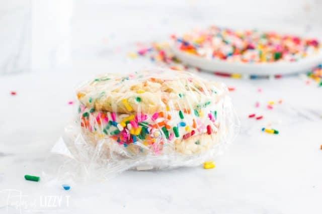 wrapped funfetti ice cream sandwich