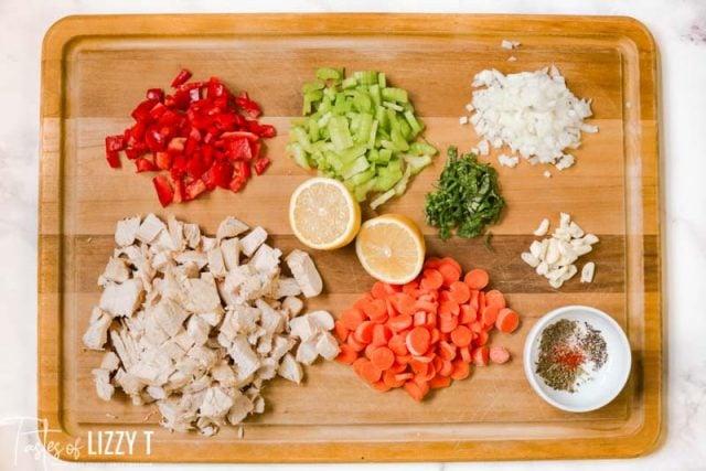 ingredients for Lemon Basil Chicken Noodle Soup