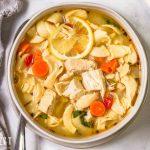 overhead shot of Lemon Basil Chicken Noodle Soup