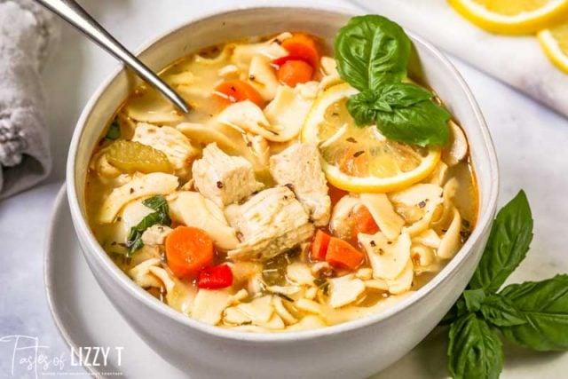 bowl of Lemon Basil Chicken Noodle Soup
