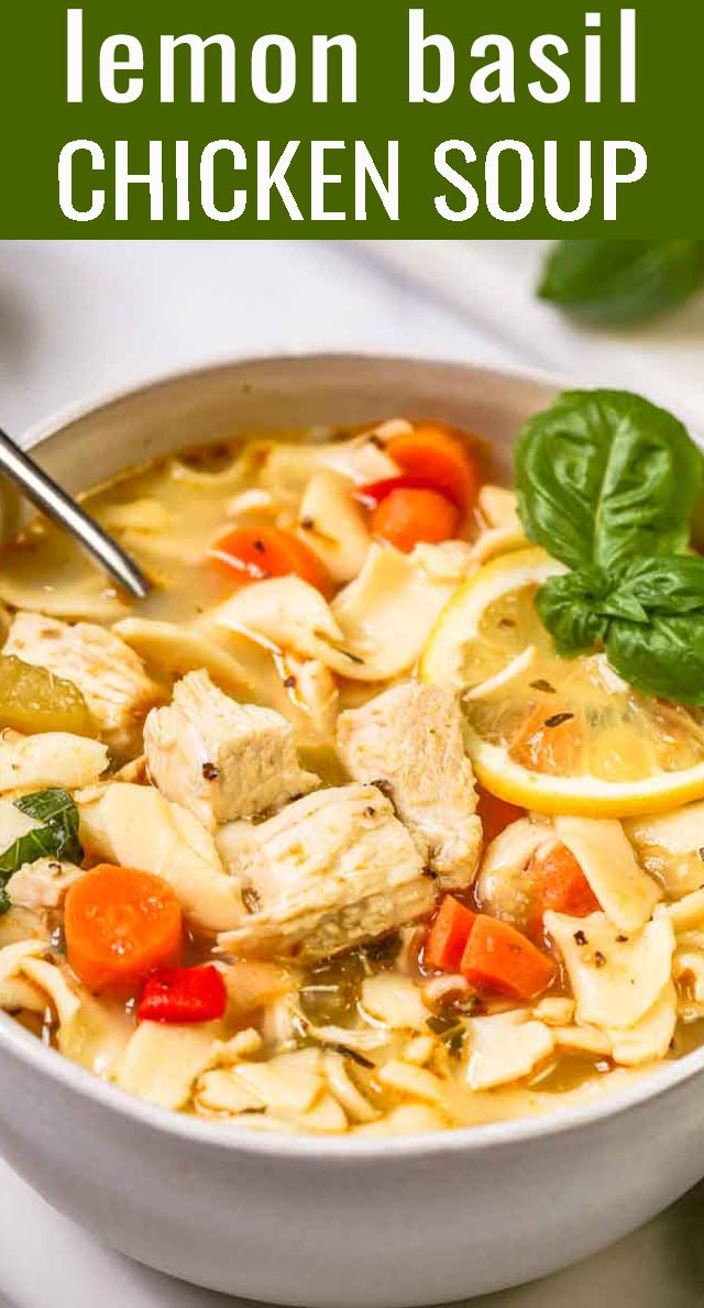 Have this delicious Lemon Basil Chicken Noodle Soup on the table in under 40 minutes. It's the ultimate in comfort food! via @tastesoflizzyt