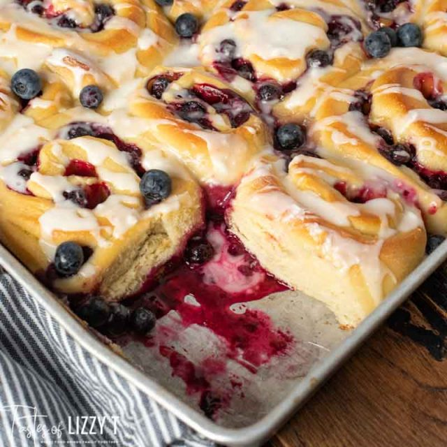 Lemon Blueberry Sweet Rolls with one missing