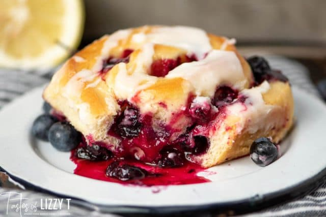 Lemon Blueberry Sweet Roll with a bite out of it