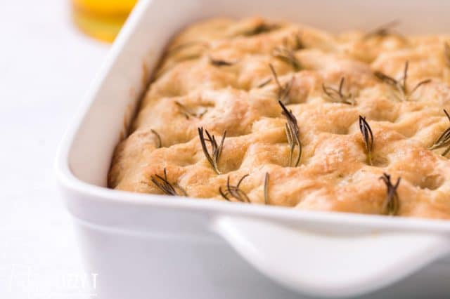 baked focaccia with fresh rosemary