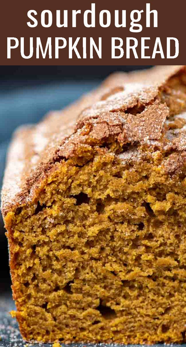 A delicious way to use up sourdough discard! This soft Sourdough Pumpkin Bread recipe with cinnamon sugar topping makes two loaves. via @tastesoflizzyt
