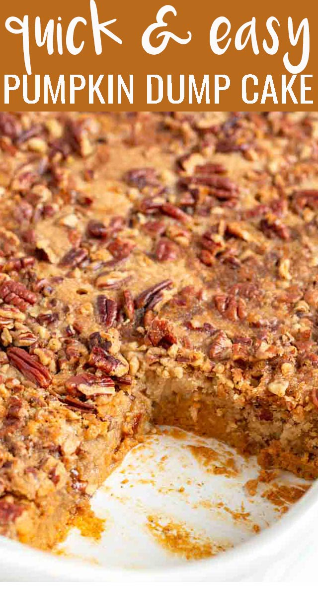The best pumpkin dessert ever! Pecan Pumpkin Dump Cake is easy for every night but delicious enough for Thanksgiving or Christmas. via @tastesoflizzyt