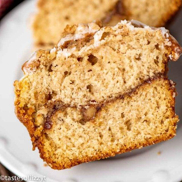 apple butter muffin cut in half