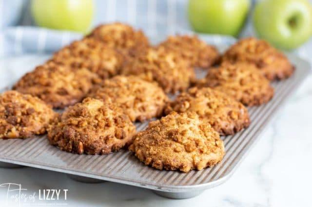 pan of caramel apple buttermilk muffins