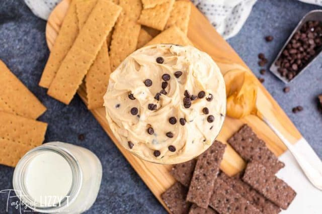 overhead view of peanut butter cheesecake dip