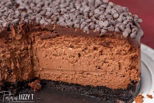 inside of a chocolate cheesecake