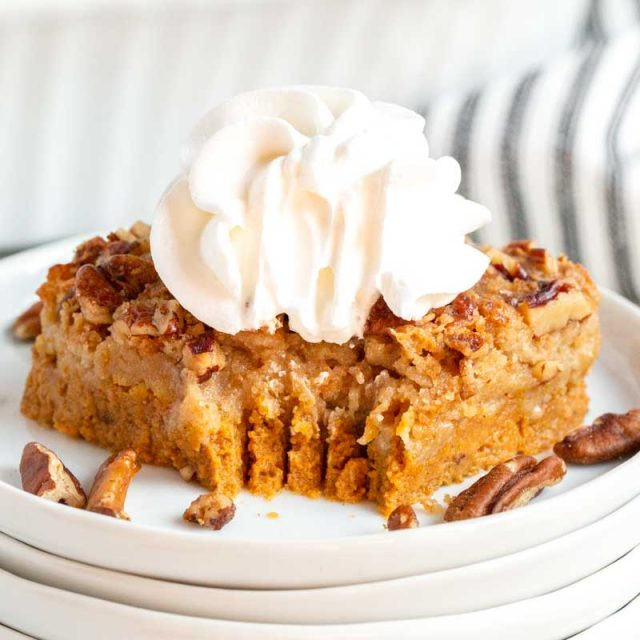 pumpkin dessert with a fork bite out